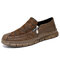 Men Side Zipper Hand Stitching Hard Wearing Casual Loafers Shoes - Brown