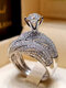 Trendy Geometric Metal Diamond Rings Temperament Rhinestone Rings - #20