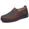 Men Old Peking Fabric Large Size Slip On Soft Casual Shoes  - Brown