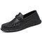 Men Comfy Microfiber Leather Breathable Slip-on Casual Shoes - Black