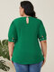 Solid Color O-neck Latern Sleeve Plus Size Casual T-Shirt - Green