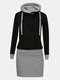 Casual Patchwork Drawstring Long Sleeve Plus Size Hooded Dress - Grey