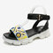 Lostisy Women Ethnic Flower Embroidered Strappy Comfy Platform Sport Sandals - Yellow