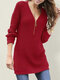 Solid Color Zip Front Long Sleeve Casual Sweater - Red