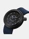 Silicone Men Business Watch Unique Design Dial Waterproof Quartz Watch - Blue