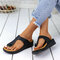 Large Size Women Casual Solid Color Clip Toe Wedges Slippers - Black