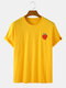 Mens Cotton Strawberry Print Solid Color Casual Loose O-Neck T-Shirts - Yellow