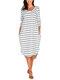 Asymmetrical Striped V-neck Plus Size Dress - White