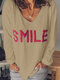 Letter Embroidery V-neck Long Sleeve Loose Casual Blouse For Women - Khaki