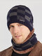 Men 2PCS Plaid Plus Velvet Thick Winter Outdoor Keep Warm Neck Protection Headgear Scarf Knitted Hat Beanie - Navy