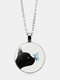 Vintage Glass Printed Women Necklace Black Cat Kiss Butterfly Pendant Necklace Jewelry Gift - Silver