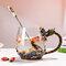 Dragon و Phoenix كأس شاي المينا القدح والزجاج والزجاج كوب كوب مقاوم للحرارة أنيقة