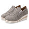 Women Casual Pointed Toe Hollow Slip On Wedges Shoes - Gray