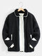 Mens Contrast Snap Button Lapel Casual Warm Teddy Jackets With Pocket - Black