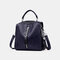 Women Genuine Leather Anti-theft Backpack Multi-function Multi-carry Bag - Blue