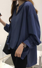Women's Blouse Solid Color Stand Collar Ruching Asymmetrical Top - Navy