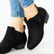 Women Synthetic Suede Pointed Toe Elastic Slip-on Chunky Heel Chelsea Boots - Black