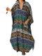 Ethnic Print Batting Sleeve Loose Vintage Maxi Dress For Women - Green
