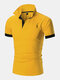 Mens Deer Chest Embroidery Contrast 100% Cotton Casual Golf Shirts - Yellow