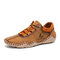 Men Hand Stitching Leather Non Slip Casual Driving Shoes - Brown