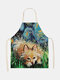 Cartoon Color Cat Pattern Cleaning Colorful Aprons Home Cooking Kitchen Apron Cook Wear Cotton Linen Adult Bibs - #18