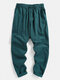 Mens 100% Cotton Solid Color Baggy Casual Drawstring Pants - Green