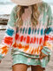 Casual Multi-Colored Printed O-neck Ovehead Long Sleeve T-Shirt For Women - Light Green