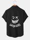 Mens Funny Face Back Print Button Up Short Sleeve Shirts - Black