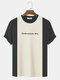 Mens Knitted Stitching Letter Embroidery Crew Neck Short Sleeve Crew Neck T-Shirt - Black