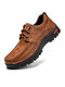 Men Stitching Leather Slip Resistant Comfy Soft Lace Up Casual Shoes - Brown