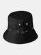 Unisex Cotton Camouflage Solid Climbing Outdoor Sunshade Adjustable Bucket Hat - Black