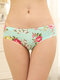 Full Hip Floral Print Seamless Soft Mid Waisted Panties - #04