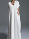 Casual Solid Color Plus Size Maxi Dress for Women - White