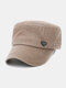 Men Washed Made-old Cotton Solid Color Letter Label Sunscreen Casual Military Cap Flat Cap - Brown