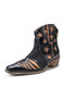 Plus Size Retro Splicing Pointed Toe Side Zipper Ankle Cowboy Boots for Women - Black