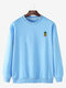 Mens Casual Loose Solid Color Pullover Sweatshirts With Cartoon Pineapple - Blue
