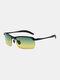 Men Metal Square Half Frame Smart Color-changing Polarized Anti-UV Sunglasses - #05