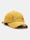 Coton unisexe trous cassés mode chapeau de baseball pare-soleil extérieur - Jaune
