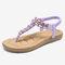 LOSTISY Women Clip Toe Rhinestone Comfy Elastic Beach Flat Sandals - Purple