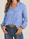 Stand Collar Long Sleeve Floral Print Button Women Casual Blouse - Blue