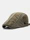 Men Cotton Stitching Stripes Cap Outdoor Leisure Wild Forward Hat Flat Cap - Army Green