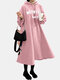 Letter Print Long Sleeve A-line Casual Hooded Plus Size Dress - Pink