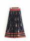 Falda de cintura elástica con estampado floral étnico vintage de mujer