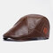 Men Vintage Artificial Leather Hat Keep Warm Ear Protected Casual Beret Hat Flat Caps - Brown
