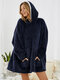 Women Solid Color Fleece Lined Thick Loose Warm Winter Home Oversized Blanket Hoodie - Navy