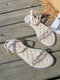 Large Size Women Crystals Soft Comfy Flat Shoes Summer Holiday Gladiator Sandals - Apricot