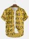 Newchic Design Men Corduroy Letter Printed Casual Curved Hem Shirt - Yellow