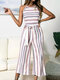 Color Contrast Striped Print Knotted Waistband Strap Sleeveless Jumpsuit With Pocket - Pink