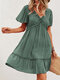 Holiday Solid Color V-neck Fungus Patchwork Short Sleeve Casual Dress - Green