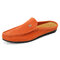 Men Micorfiber Leather  Pure Color Comfy Casual Backless Loafers - Orange